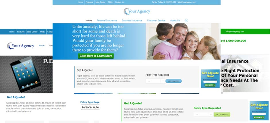 Image of different options for custom built and designed insurance agency websites