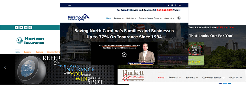 Image of different options for custom built Insurance websites