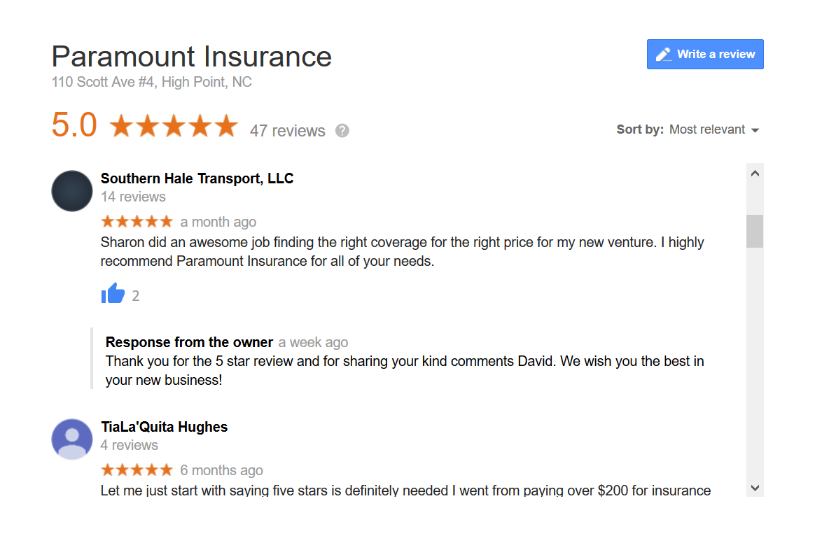 Google reviews for insurance agencies